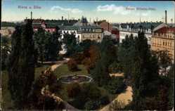 Postcard Riesa a. d. Elbe, Kaiser Wilhelm Platz, Park, Bäume