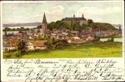 Künstler Litho Biese, C., Plön am See Schleswig Holstein, Totalansicht, Ort,Burg