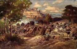Künstler Ak Coburg in Oberfranken, Belagerung der Feste durch Wallenstein