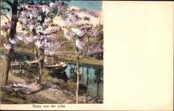Postcard Lühe Jork im Kreis Stade, Serie Doppelton, Flusspartie, Uferpartie,