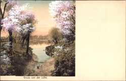 Postcard Lühe Jork im Kreis Stade, Serie Doppelton, Graben am Wasser