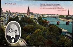 Postcard Frankfurt am Main, Stadtblick, Friedrich Stoltze im Portrait