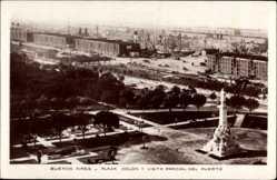 Postcard Buenos Aires Argentinien, Plaza Colon y vista Parcial del Puerto, Statue