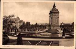 Postcard Mannheim in Baden Württemberg, Blick auf den Wasserturm, Parkanlage