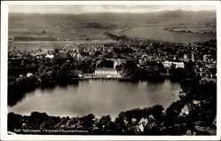 Postcard Bad Salzungen im Wartburgkreis, Fliegeraufnahme, See, Stadt