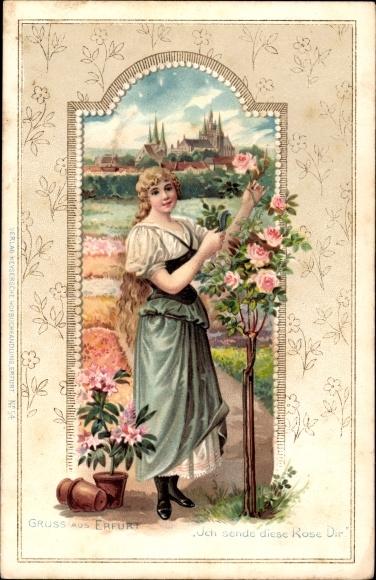 Präge Litho Erfurt in Thüringen, Ich sende diese Rose Dir