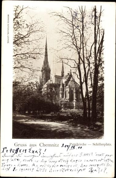 Chemnitz Sachsen, Blick auf die Petrikirche am Schillerplatz