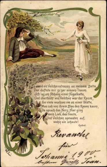 Chromo Litho Gedicht Von Emanuel Geibel Es Stand Ein