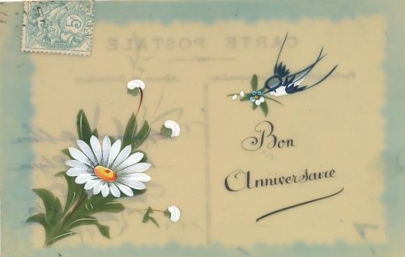 Zelluloid Ansichtskarte Postkarte Bon Anniversaire Akpoolde