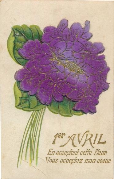 Stoff Postcard 1er Avril 1 April Veilchenstrauss Akpool Co Uk