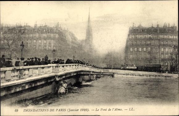 Postcard Paris Inondations Janvier 1910 Le Pont De