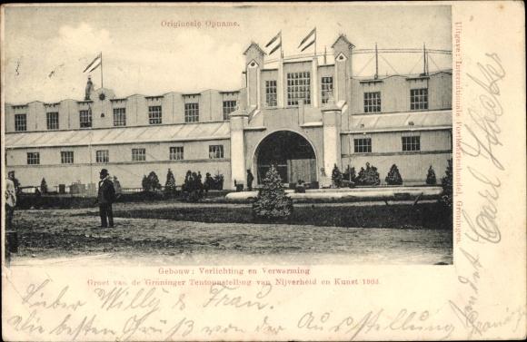 postcard groningen niederlande verlichting en verwarming groninger tentoonstelling 1903
