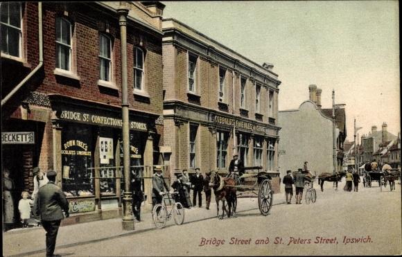 Bridge Street Stores >> Postcard Ipswich East Of England Bridge Street And St