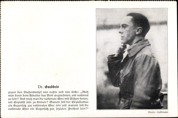 Postcard Reichspropagandaleiter Joseph Goebbels Portrait Zitat