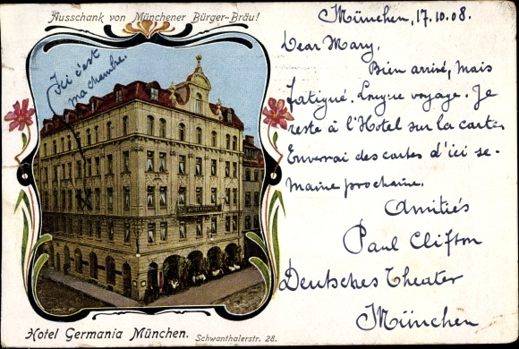 Passepartout Ansichtskarte Postkarte München Bayern