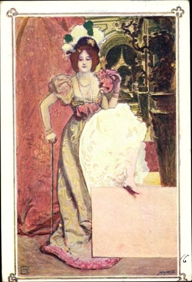 Jugendstil Kunstler Ansichtskarte Postkarte Frau In Akpool De
