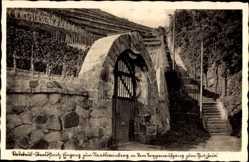 Ansichtskarte / Postkarte Radebeul Oberlössnitz, Eingang zum Staatsweinberg, Treppenaufgang
