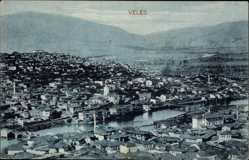 Postcard Veles Mazedonien, Panorama der Stadt, Fluss, Berge