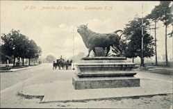 Postcard Guatemala, Avenida La Reforma, Stierdenkmal, Pferdekutsche