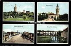 Postcard Friedberg im Wetteraukreis Hessen, Adolfsturm, Kaiserstraße, Eisenbahnbrücke