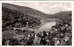Postcard Heidelberg Ziegelhausen, Blick auf Neckartal mit Ziegelhausen und Schlierbach