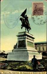 Postcard Rosario Argentinien, Monumento al General San Martin, Reiterstandbild