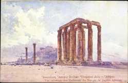 Künstler Ak Athen Griechenland, Vue orientale des Colonnes du Temple de Jupiter
