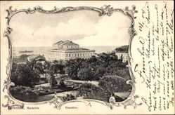 Postcard Funchal Insel Madeira Portugal, Theatro, Blick auf das Theater, Park, Palmen