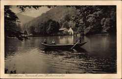 Postcard Bad Dürkheim am Pfälzerwald , Forsthaus Isenach, See, Ruderboot