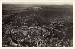 Postcard Coburg in Oberfranken, Fliegeraufnahme von Stadt und Veste