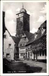 Postcard Lohr am Main in Unterfranken Bayern, Partie am Stadtturm, Metzgerei Anton