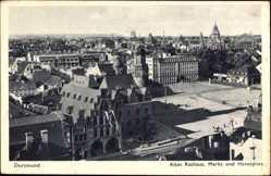 Postcard Dortmund im Ruhrgebiet, Altes Rathaus, Markt, Hansaplatz, Giebel, Straße