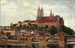 Ansichtskarte / Postkarte Meißen in Sachsen, Blick auf den Ort mit Albrechtsburg und Dom, Brücke