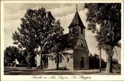 Postcard Lögow Wustershausen Dosse, Blick auf die Kirche, Fachwerk, Kreuz, Kirchturm