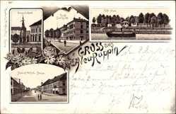 Vorläufer Litho Neuruppin in Brandenburg, Kaffee Alsen, Landgericht, 1895