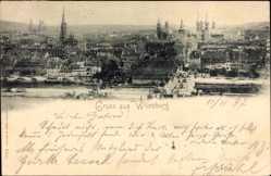 Postcard Würzburg am Main Unterfranken, Totalansicht der Ortschaft, Brücke, Kirche