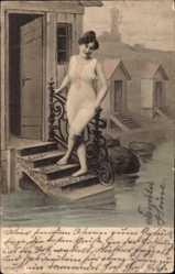 Ak Frau in Badekleid, Umkleidekabine am Wasser