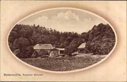 Passepartout Ak Boltenmühle Neuruppin in Brandenburg, Gebäude, Wald