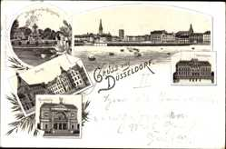 Litho Düsseldorf Rhein, Brunnen, Markt, Kunsthalle, Ständehaus, Königsallee