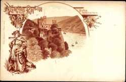Litho Trechtinghausen Rhein, Blick auf Burg Rheinstein, Rheinpartie