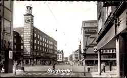 Foto Ak Oberhausen Sterkrade am Rhein, Stadtmitte, Uhrturm, Kaufhaus