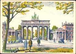 Künstler Ak Langkau, Berlin Mitte, Blick auf das Brandenburger Tor