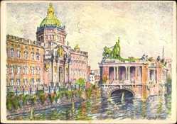 Künstler Ak Langkau, Berlin Mitte, Schloss und National Denkmal, Fluss