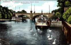 Postcard Potsdam in Brandenburg,Dampferstation an Kaiser Wilhelm Brücke,Eisenbahnhotel
