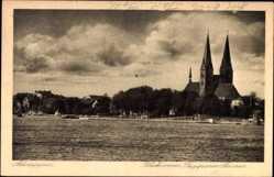 Postcard Neuruppin in Brandenburg, Blick vom Ruppiner See auf den Ort
