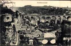 Postcard Luxemburg, Nordbahnviadukt, Vogelschau auf die Stadt
