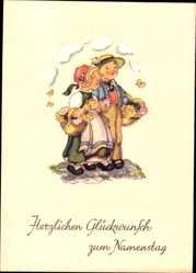 Künstler Ak Lauterborn, Liesel, Glückwunsch Namenstag, Kinder mit Körben