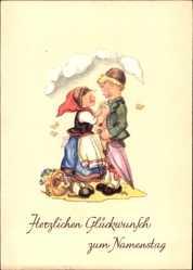 Künstler Ak Lauterborn, Liesel, Glückwunsch Namenstag, Kinder, Blumenkorb