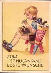 Künstler Ak Neubert, E., Glückwunsch Einschulung, Zuckertüte, Schiefertafel