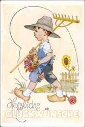 Künstler Ak Schiel, Herzliche Glückwünsche, Junge mit Rechen, Blumen